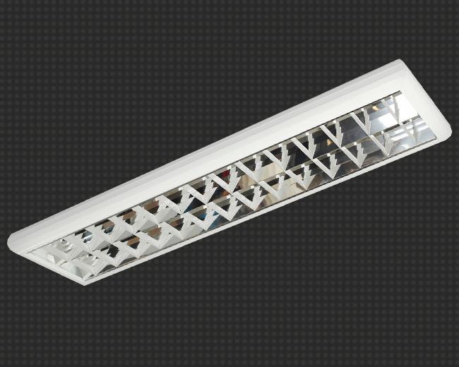 Светодиодный светильник, накладной, прямоугольный 10 Вт (аналог 2*18) с зеркальной решеткой