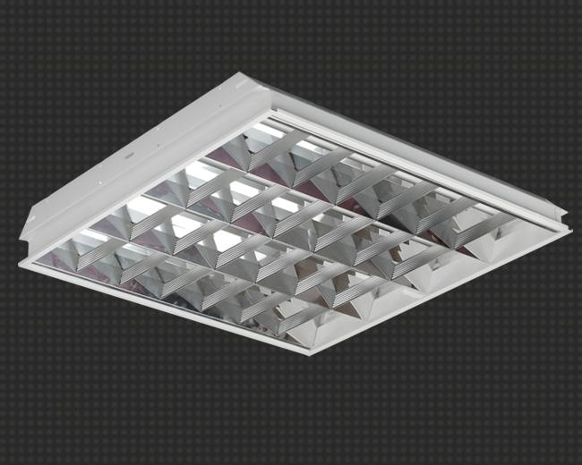 Светодиодный светильник, встраиваемый, квадратный 23 Вт (аналог 4*18) с зеркальной решеткой